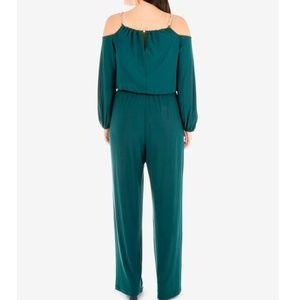 NY Collection Pants - NY COLLECTION Cold Shoulder Chain Jumpsuit